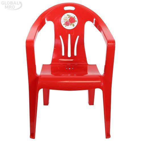 [반품불가] 대승산업 플라스틱 의자장미쇼파 (적색) 4EA