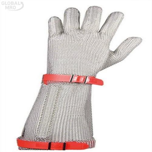 코레카산업 쇠그물장갑 쇠그물장갑 손목19cm(5손)M-적색 /옵션 쇠그물장갑 손목19cm(5손)M-적색 1EA