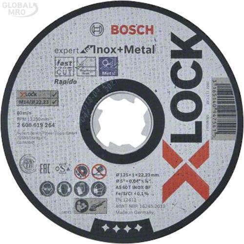 보쉬 AC 절단석(메탈/스테인리스) 5인치 (125x1.0x22.23) 264 (X-Lock) 25EA