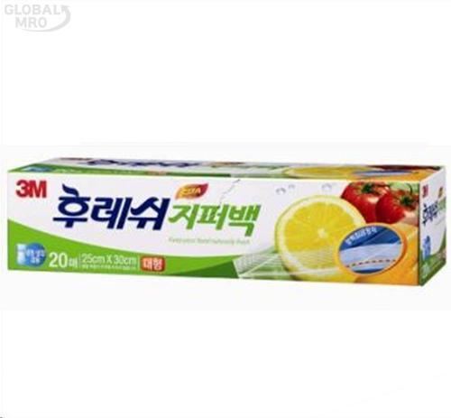 3M 생활용품 위생지퍼백 후레쉬지퍼백 대형20매 10EA