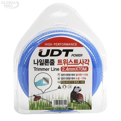 UDT예초기액세서리 나일론줄 2.4mm - 70M(트위스트 사각형) 1EA