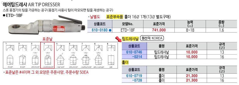 엠엠엠 홀더ETD-18F용(16)#55 1EA