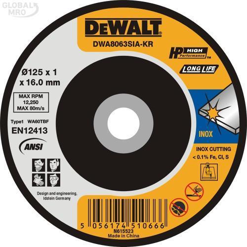 디월트AC 절단석 DWA8063SIA (125x1x16) 25EA